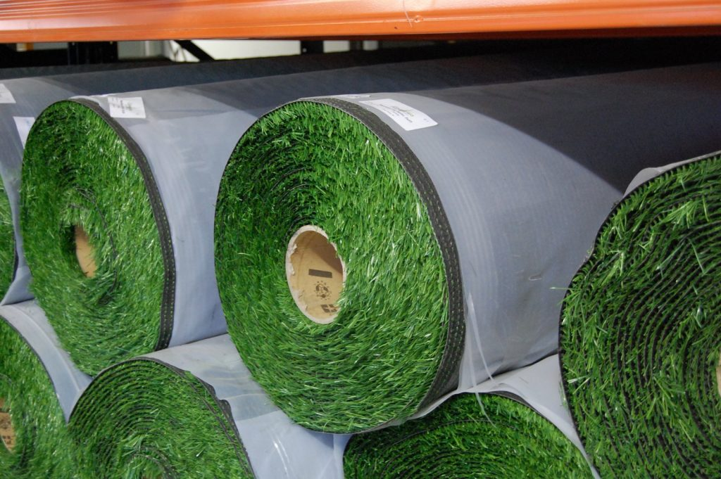 rolls of fake turf