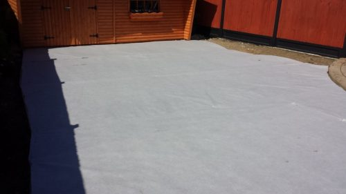 Weed Membrane Applid to Laying Course Prioer To Artificial Grass Installation
