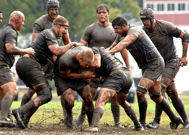 muddy rugby pitch