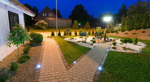 garden uplighters pathway paving