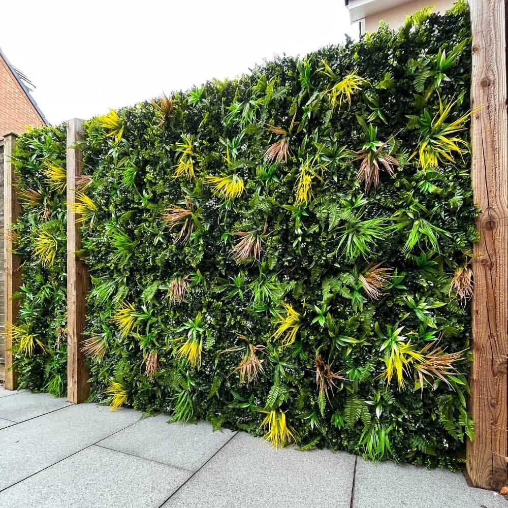 Artificial Yellow Meadow Green Living Wall