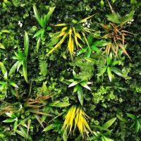 artificial yellow meadow green living wall detail